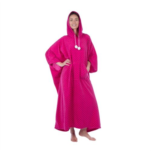 Ladies//Womens Long Fleece Hooded Poncho Lounger Dressing Gown//Robe Navy//Pink