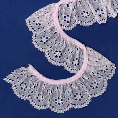 """Gathered frilled lace Pink 45mm~1 3//4/"""" trimmings~SLGA1508."""