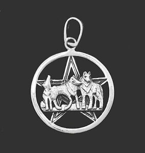 STERLING-SILVER-925-WOLF-FAMILY-ON-PENTACLE-PENTAGRAM-WICCA-EMPOWERMENT-GIFT