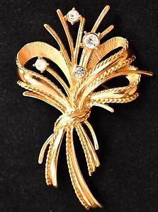 Vintage-Bow-Ribbon-Flower-Spray-Brooch-Rhinestone-Mid-Century-Costume-Jewelry-3-034