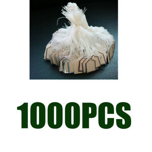 1000 Pack White Blank Price Tag Clothing Jewelry Hang Labels Pre-Strung Tags