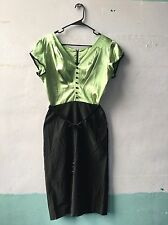 Stop Staring! Black Chartreuse Hourglass Wiggle Cocktail Dress XL 50s Vtg Style