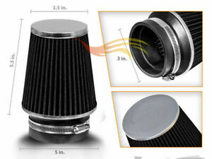 BLACK-3-034-76mm-Inlet-Narrow-Air-Intake-Cone-Replacement-Quality-Dry-Air-Filter