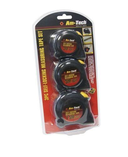 Am-Tech 3pc Self Locking Measuring Tape Set