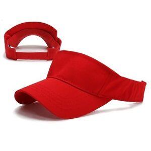New Red Brushed Cotton Golf Tennis Plain Adjustable Sun Visor Cap ... 0ff2b09c39b