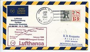 Acheter Pas Cher Ffc 1966 Lufthansa Primo Volo Lh 490 - Francoforte New York Montego Bay