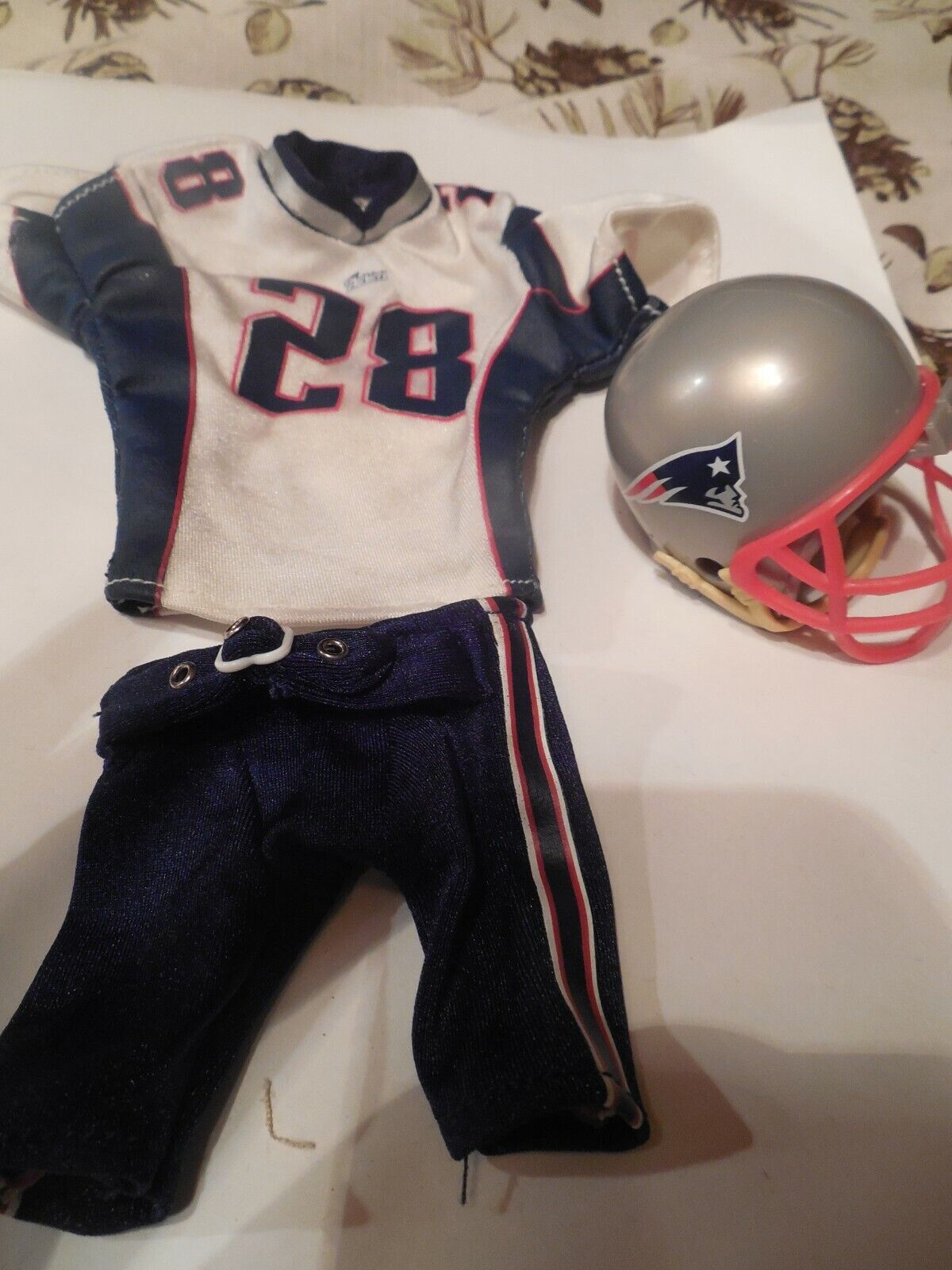 Patriots Football attire. 3 pc 1 6 scale. For Ken or action figures. Helmet too