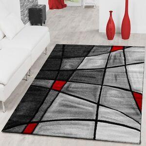 Teppiche Wohnzimmer Teppich Porto mit Konturenschnitt in Grau Rot ...