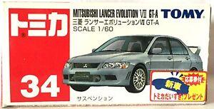JAPAN-TOMY-TOMICA-No-34-MITSUBISHI-LANCER-EVOLUTION-EVO-VII-GT-A-1-60-DIECAST