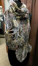 """Rex Rabbit Fur Knitted 72"""" Scarf with Gloves on Ends, Pastel Colors"""