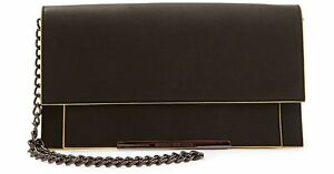 Steve-Madden-Foldover-Convertible-Clutch-BLACK-WITH-YELLOW-TRIM-NWT