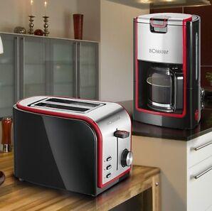 Frühstücks Set schwarz-rot Toaster Brötchen Aufsatz Kaffee Maschine Glas Kanne