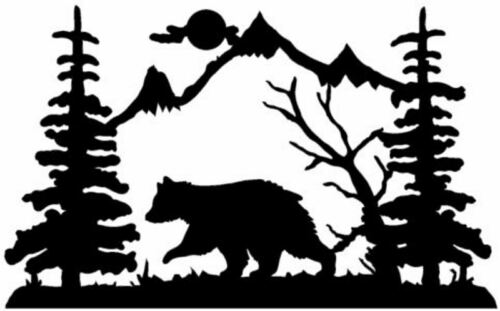 Die Cut Vinyl Decal Baby Bear Mountain Wildlife Scene 20 Colors Car Truck RV B90