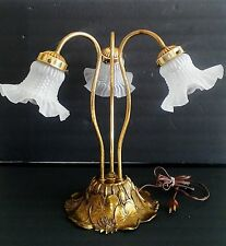 Vintage Brass 3 Light Ornate Tulip Style Lily Pad Table Lamp RARE