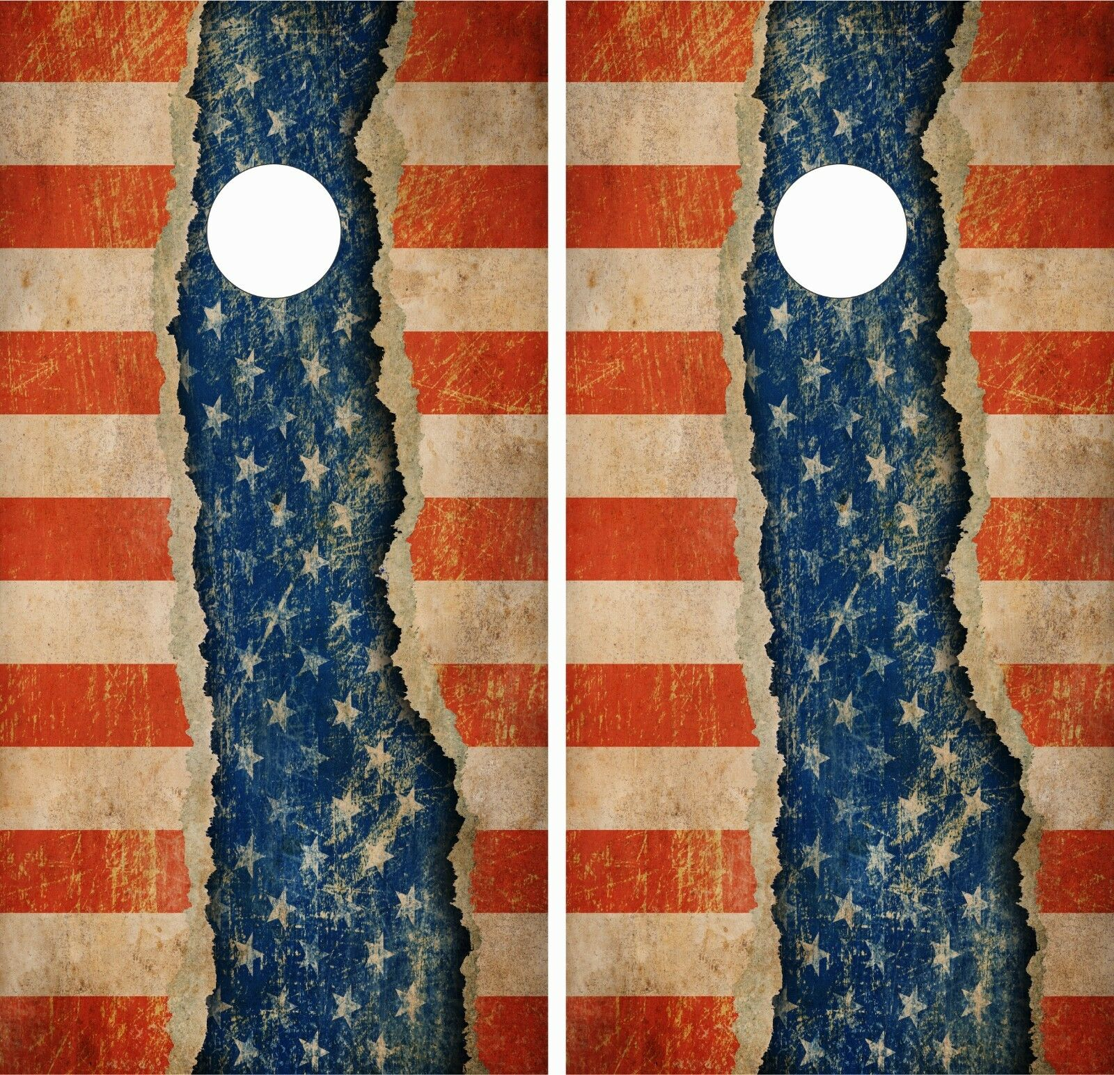 Old Ripped  US Flag .Cornhole Board Game Decal  USA VINYL WRAPS LAMINATED  high quality