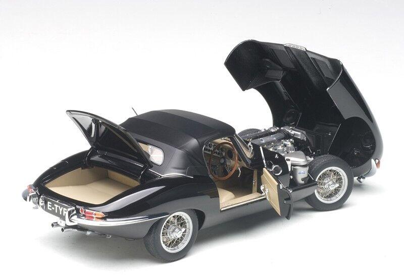 Autoart Jaguar E-Type Roadster Série I 3.8  Noir Métal Fil Roues à Bâtons 1 18  meilleure qualité