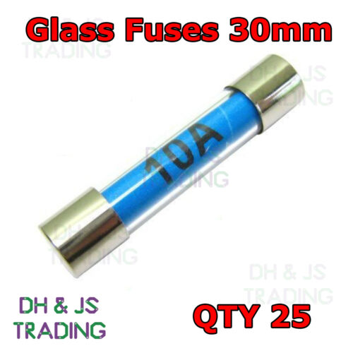 25x 10a Glass Fuses 30mm Fast Acting Quick Blow Fuse Auto Electrical 10 10amp