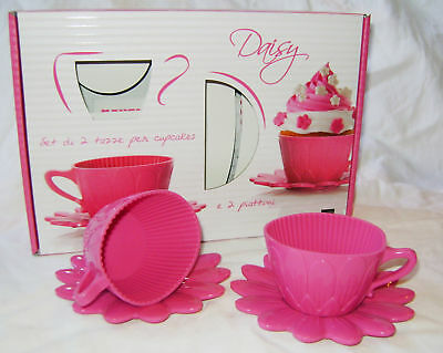 Temperate Neu Backform Aus Silikon 2 Rosa Daisy Teetasse Koffer & Untertasse Backen Pavoni Low Price Backbleche