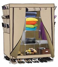 "71"" Portable Closet Storage Organizer Clothes Wardrobe Shoe Rack Shelves Beige"