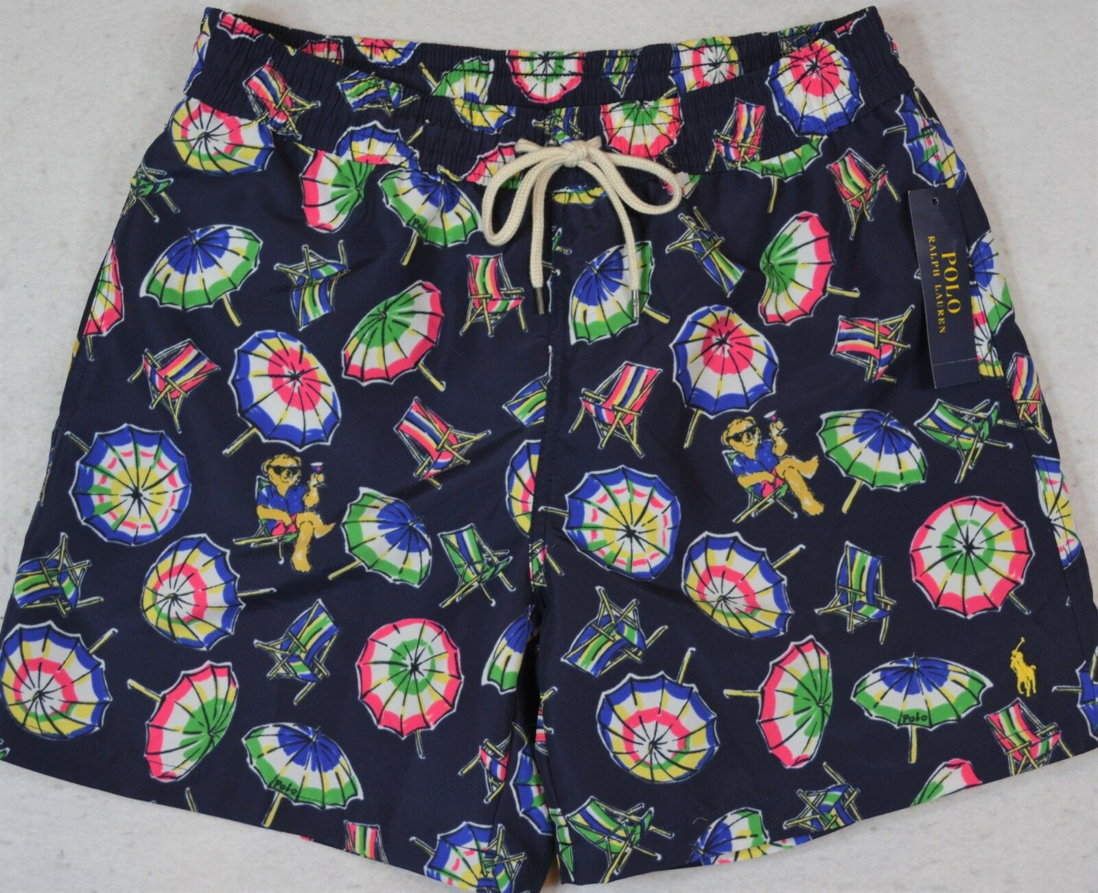 Polo Ralph Lauren Swim Trunks Briefs Bear Umbrella Shorts M Medium NWT