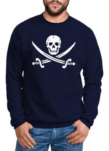 Sweatshirt Herren Totenkopf Pirat Jolly Roger Rundhals-Pullover Moonworks®