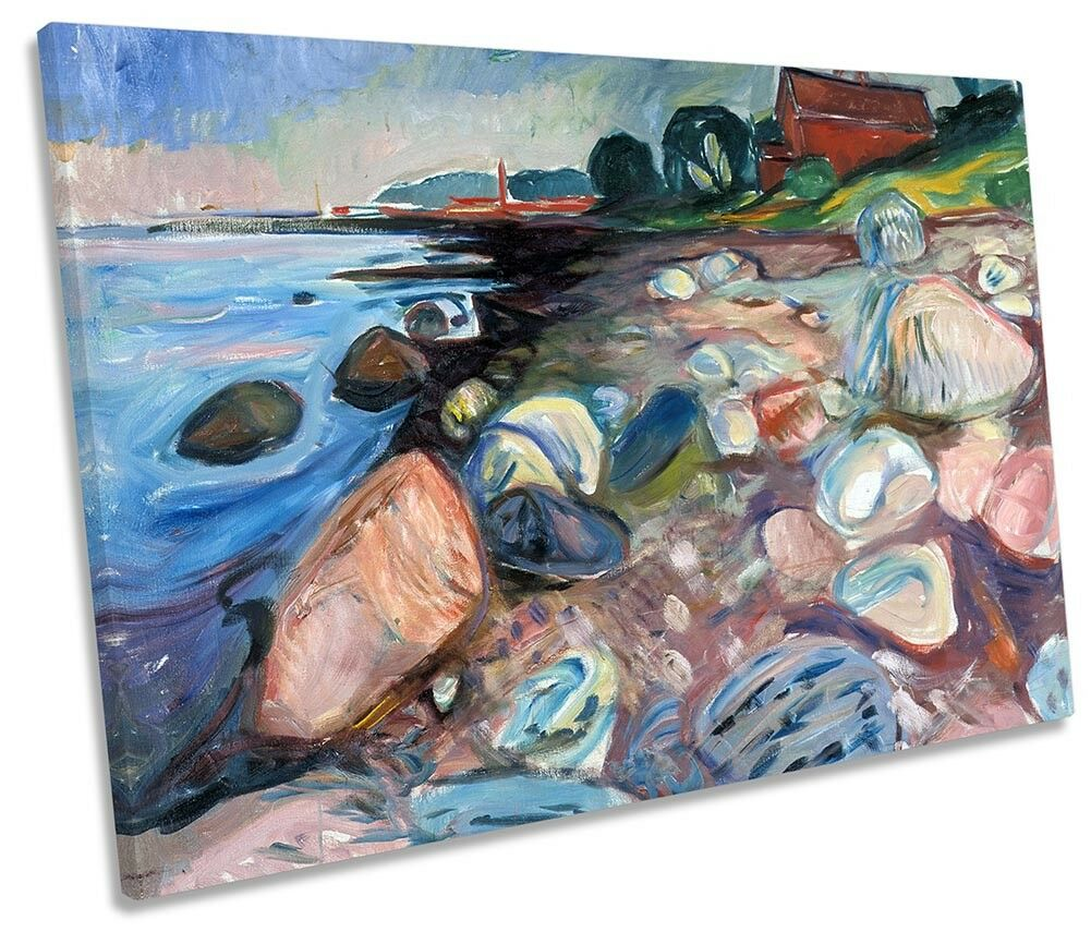 Edvard Munch Shore with rot House SINGLE CANVAS WALL ART Print