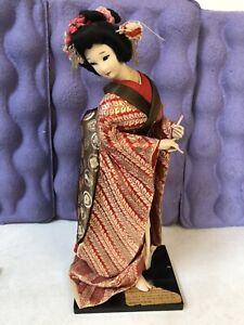 """Vintage Japanese Mid-Century 17"""" Handmade Silk Skinned Geisha Doll Papers At Bas"""