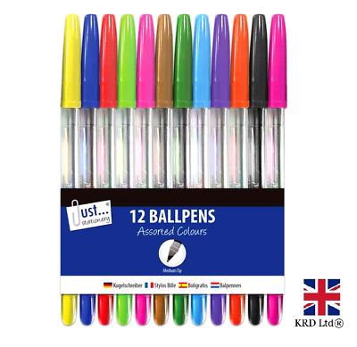 12 BALLPOINT MULTICOLOURED PEN SET Fine Medium Bright Colourful Ink TA1016 UK