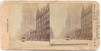 Advertising Stereoview of Garfield Building in Cleveland 1896 ~ Tobacco Co