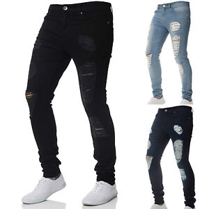 Mens-Stretch-Ripped-Skinny-Jeans-Distressed-Frayed-Slim-Fit-Biker-Pants-Trousers