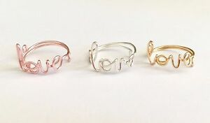 Adjustable silver,gold or rose gold plate Love wire ring, handmade wire rings