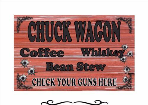 Chuck Wagon Wild West Cowboy Saloon Bar Estilo Vintage Retrô Metal sinal Pub Sinal