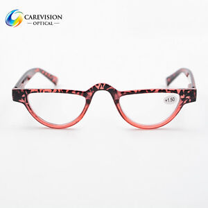 7e385487fdf 1X Half Moon Women s Vintage Spring Hinge Eyeglasses Reading Glasses ...