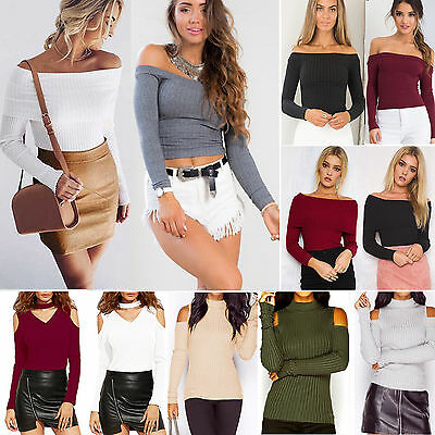 Women Cold Off Shoulder Knit Tops Long Sleeve T-Shirt Casual Sweater Jumper Top