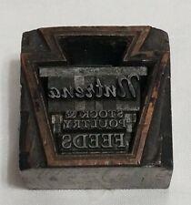 Vintage Nutrena Stock And Poultry Feeds Metal Letterpress Printing Block