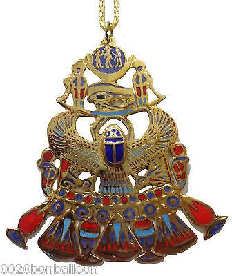 Egyptian Necklace Huge Scarab & Horus Eye Pendant  XXL pharaoh Costume Egypt 102