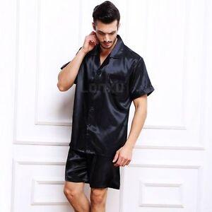 Mens Silk Satin Pajamas Pyjamas Set Sleepwear Loungewear  S M L XL 2XL 3XL 4XL
