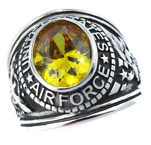 Yellow Topaz Air Force US Military Silver Stainless Steel Mens Ring ... 7a7192a97