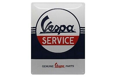"""Email Emaille Piaggio Service Relief-Blechschild /""""Vespa Parking Only/"""" 30x20cm"""