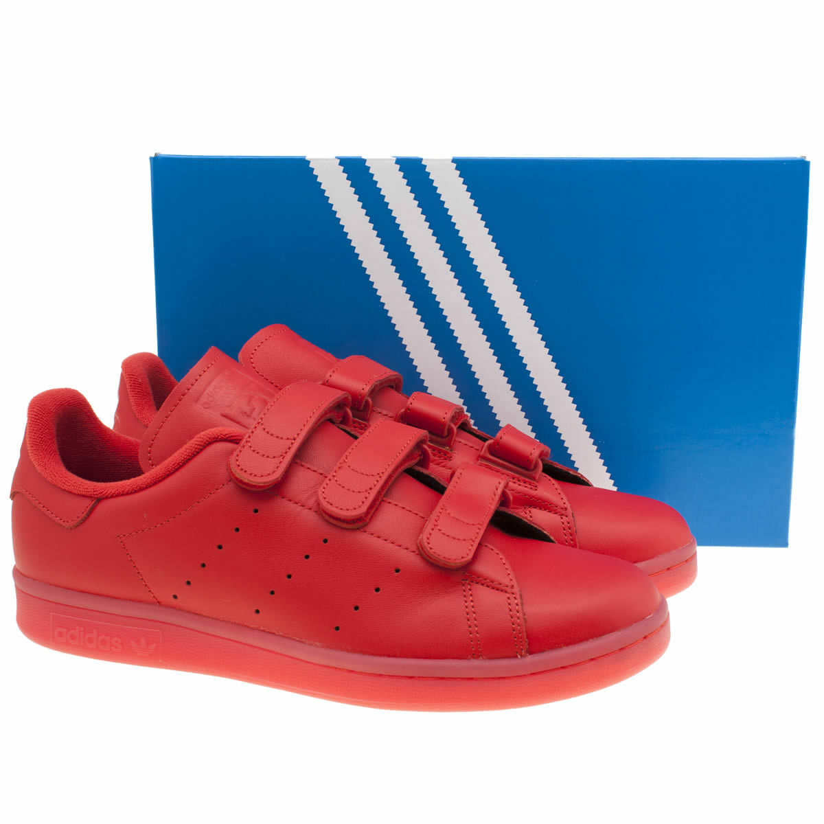 Adidas Rouge Stan Smith Confort En Cuir Baskets Taille 12