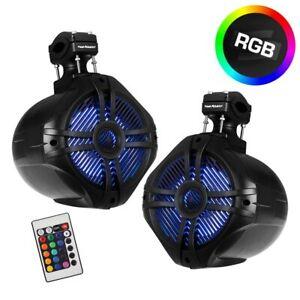 Pair Power Acoustik Wakeboard Marine 8″ 2-Way Wakeboard Speakers w/ RGB LED's