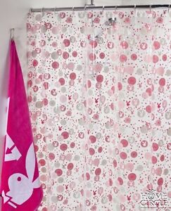 Image Is Loading PLAYBOY HOME PINK WHITE PVC SHOWER CURTAIN 180X180CM