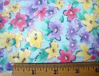 All Over Pink Purple Yellow Flowers With Blue Glitter Cotton Fabric Piece