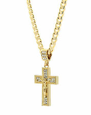 "Mens 14k Gold Plated Cz Jesus Plain Cross Pendant Hip-Hop 24"" Cuban Chain"