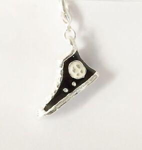 Silver & Black Zapatillas Zapato Bota-Plata plate-clip-on encanto Para Pulseras-Nuevo