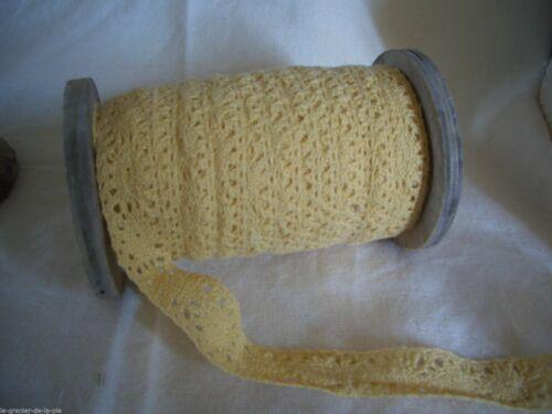 2 mètres de dentelle de coton jaune pâle largeur 1.7  cm mercerie couture NEUF