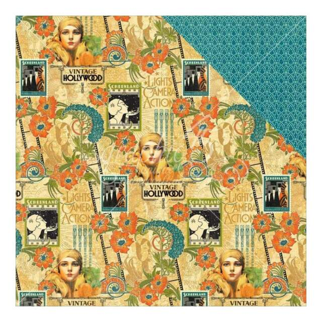 Graphic 45 - Vintage Hollywood Double-Sided Cardstock 12 inch X12 inch - Dazzlin