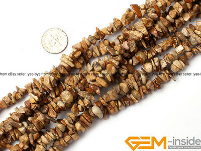 """Natural 7-8mm Freeform Chips Jewelry Making Loose Gemstone Beads Strand 34""""&15"""""""