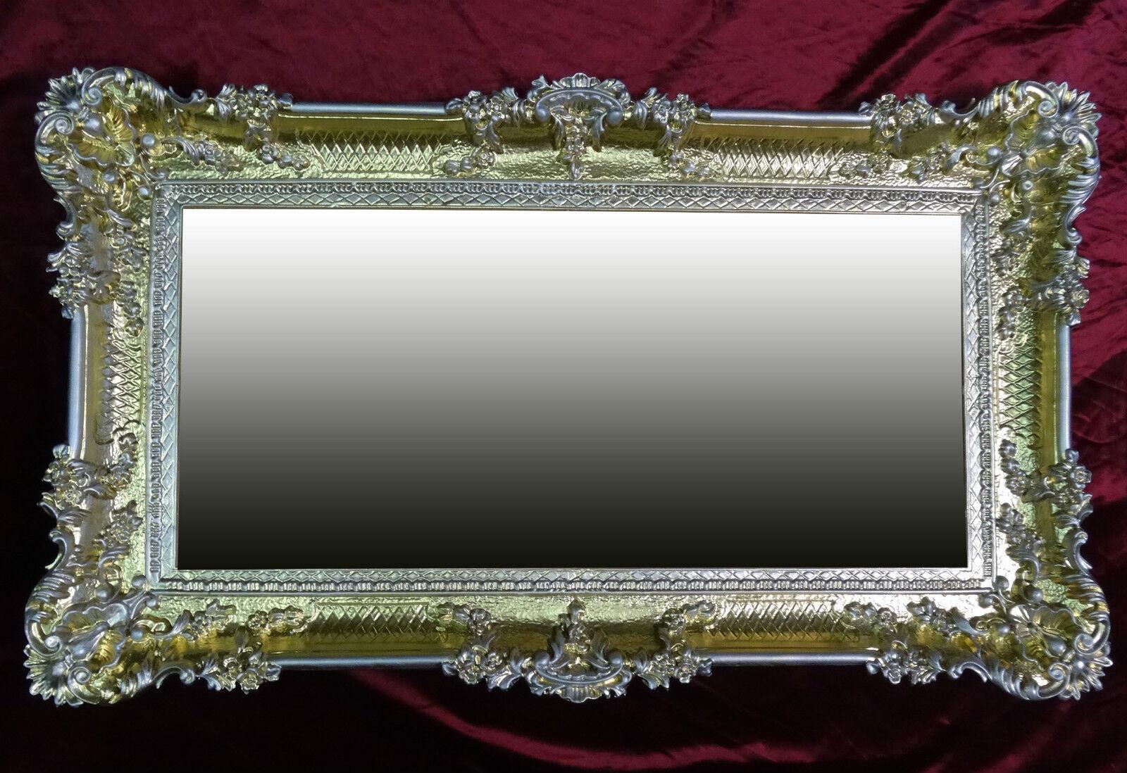 Xxl wandspiegel rechteckig gold silber barock wanddeko for Force de miroir ebay