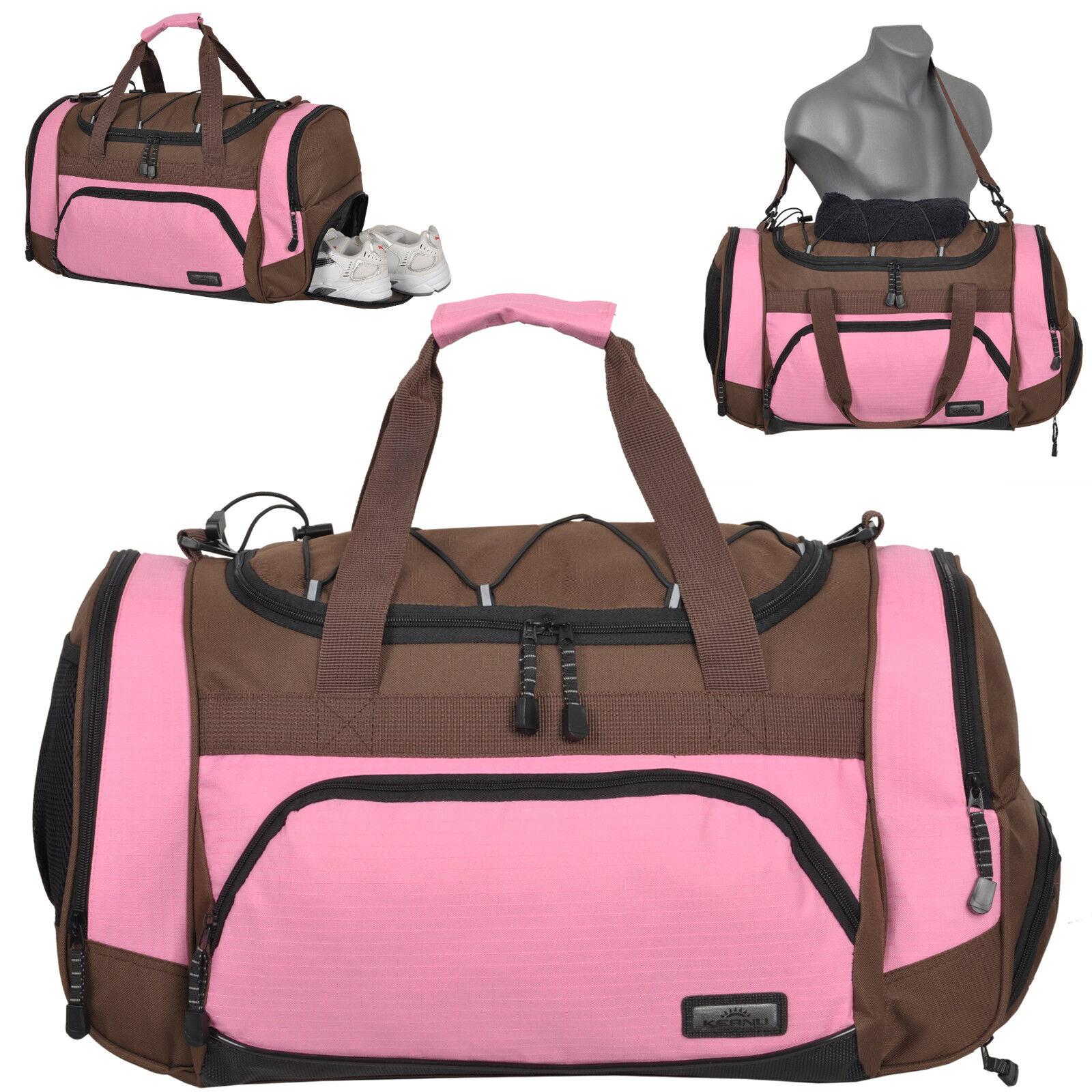 Fitnesstasche Sporttasche KEANU Gym Reisetasche Freizeit Sauna Tasche Braun Rosa | Förderung  | Outlet Store  | ein guter Ruf in der Welt